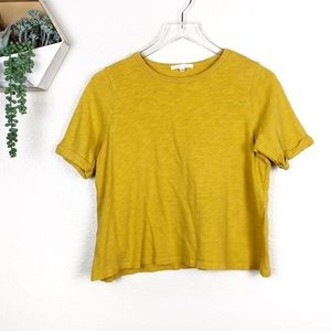 Anthro | pure + good yellow box short sleeve shirt